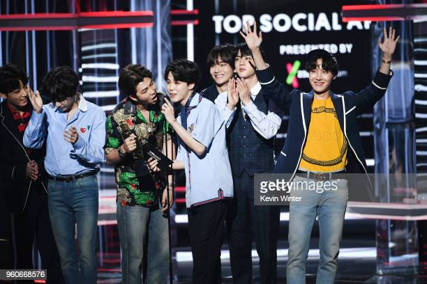 Music group BTS accepts the Top Social Artist award onstage during the 2018 Billboard Music Awards at MGM Grand Garden Arena on May 20 2018 in Las...