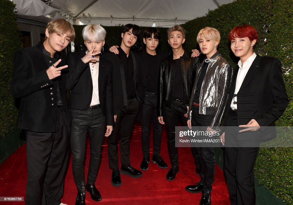 Music group BTS attends the 2017 American Music Awards at Microsoft Theater on November 19, 2017 in Los Angeles, California.