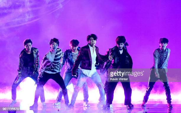 Music group BTS performs at the 2018 Billboard Music Awards at the MGM Grand Garden Arena on May 20 2018 in Las Vegas Nevada