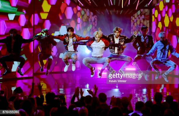 music group bts performs onstage during the 2017 american music at picture