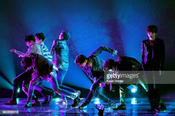 Music group BTS performs onstage during the 2018 Billboard Music Awards at MGM Grand Garden Arena on May 20 2018 in Las Vegas Nevada