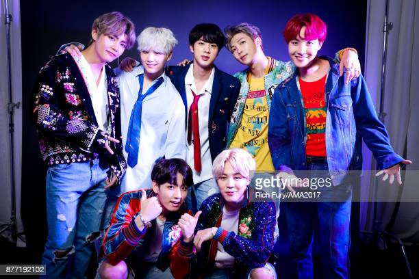 Music group BTS poses for a portrait during the 2017 American Music Awards at Microsoft Theater November 19 2017 in Los Angeles California