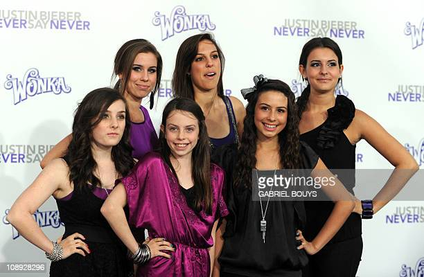 "Music group Cimorelli arrives at the premiere of 'Justin Bieber Never say Never"" in Los Angeles California on February 8 2011 AFP PHOTO / GABRIEL..."