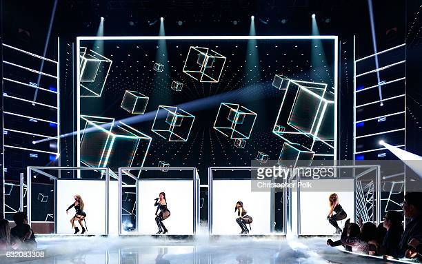 Music group Fifth Harmony performs onstage during the People's Choice Awards 2017 at Microsoft Theater on January 18 2017 in Los Angeles California