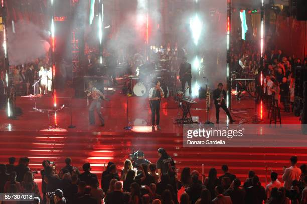Music group Fitz and the Tantrums performs onstage during the Westfield Century City Reopening Celebration on October 3 2017 in Century City...