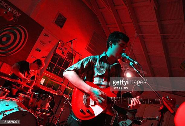 Music group Surfer Blood performs onstage at the 2011 SXSW Music Film Interactive Festival Kanine Presents Showcase at Beauty Bar Palm Door on March...