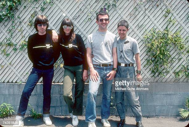 Music group Throbbing Gristle including members Genesis POrridge Cosey Fanni Tutti Peter Sleazy Christopherson and Chris Carter pose for a portrait...