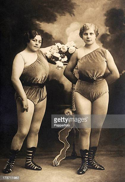 Music hall performers and athletes the Apollinas circa 1910