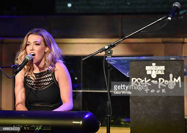 Music Heals Honoree Rachel Platten performs onstage during the Musicians On Call Rock The Room Tour at Greystone Manor on December 1 2015 in West...