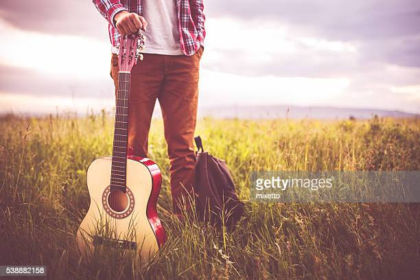 music in nature - acoustic guitar stock pictures, royalty-free photos & images