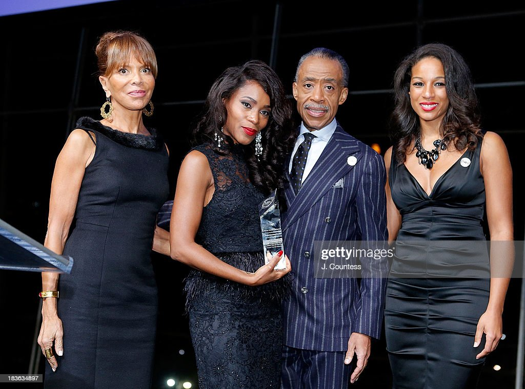 Music Industry Executive Sylvia Rhone, Actress Valisia Lekae, Founder of the National Action Network Reverend Al Sharpton and Acting Executive Director of the National Action Network Janaye Ingram onstage during The 4th Annual Triumph Awards at Rose Theater, Jazz at Lincoln Center on October 7, 2013 in New York City.