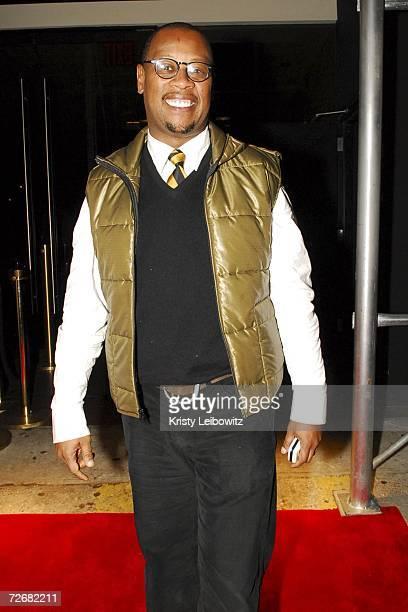 Music industry mobile Andre Hurrell poses at Rev Run's birthday celebration at Tenjune on November 29 2006 in New York City