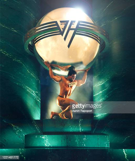 Music legends Van Halen pose for their 5150 album cover in Los Angeles, California