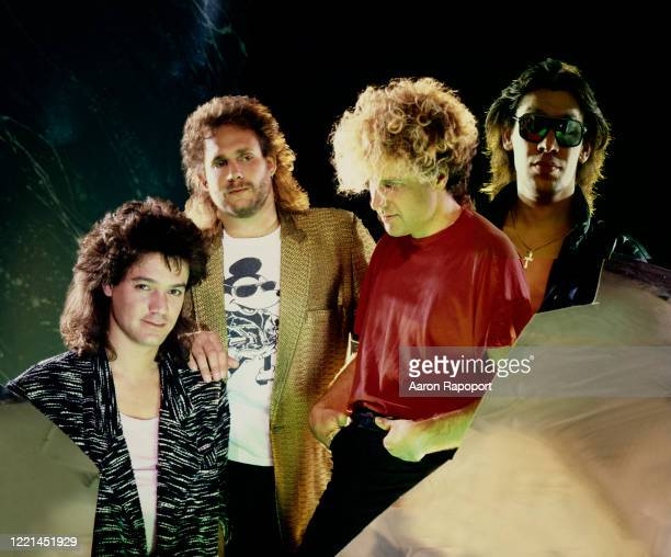 Music legends Van Halen pose for their 5150 album cover in Los Angeles California