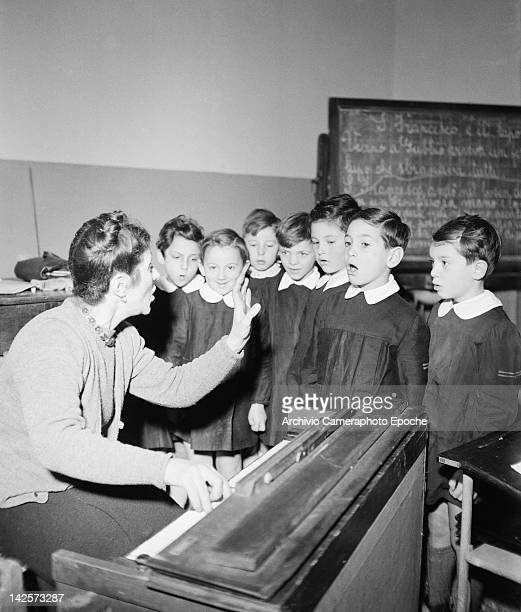 A music lesson at a boys' school in Italy 1949