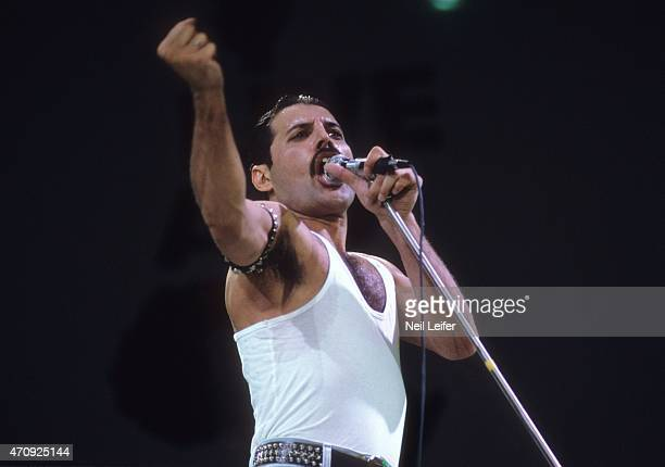 Live Aid Freddie Mercury and Brian May of Queen performing on stage at Wembley Stadium London England 7/13/1985CREDIT Neil Leifer