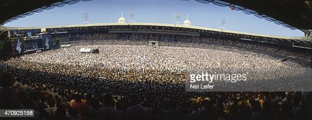 Live Aid Panoramic wide view of concert crowd and stage at Wembley Stadium London England 7/13/1985 CREDIT Neil Leifer