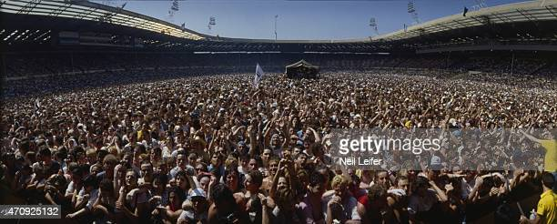 Live Aid Panoramic wide view of concert crowd at Wembley Stadium London England 7/13/1985 CREDIT Neil Leifer