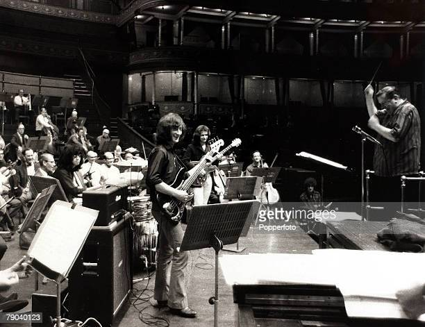 Music London England 23rd September 1969 The Royal Philharmonic Orchestra conductor Malcom Arnold and the orchestra are pictured rehearsing with rock...