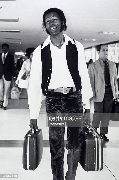 Music London England August 1972 American rock musician Chuck Berry arrives at Heathrow airport to prepare for a concert