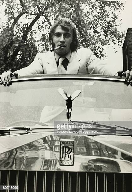 Music London England Member of the pop group The Bee Gees Maurice Gibb with his pride and joy a new Rolls Royce convertible car