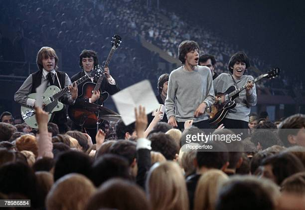 Music London The rock band The Rolling Stones performing on stage at the Mod Ball