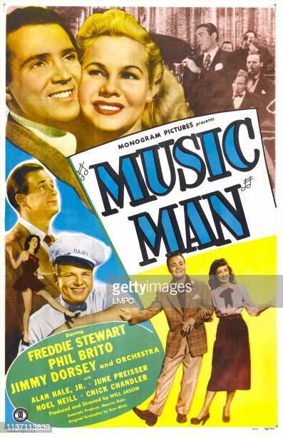 Music Man, poster, US poster, top from left: Freddie Stewart, June Preisser, top right: Jimmy Dorsey and his orchestra, center from top: Chick...