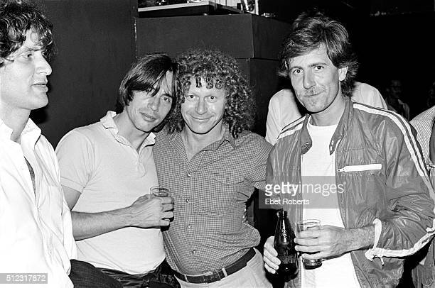 Music manager Danny Goldberg with Jackson Browne Jimmy Pulis aka JP and Graham Nash at the No Nukes Muse Party at Trax in New York City on February...
