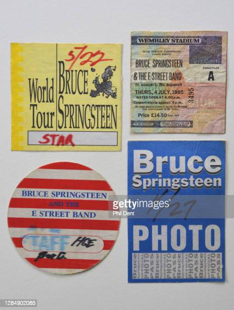 Music memorabilia - A selection of concert tickets and press passes for Bruce Springsteen shows, photographed on 19th October 2020.