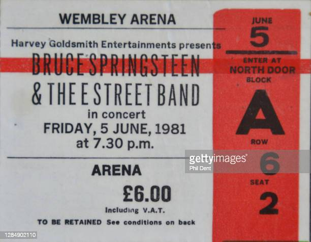 Music memorabilia - A ticket for Bruce Springsteen's show at Wembley Arena, London on 5th June 1981, photographed on 20th October 2020.