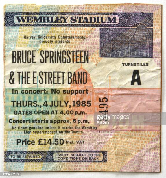 Music memorabilia - A ticket for Bruce Springsteen's show at Wembley Stadium, London on 4th July 1985, photographed on 19th October 2020.