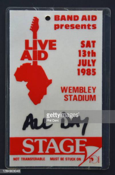 Music memorabilia - all day stage access pass for Live Aid at Wembley Stadium, London, 13 July 1985, photographed on 20th October 2020.