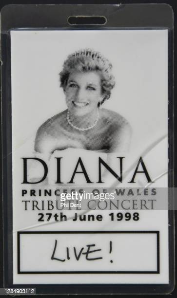 Music memorabilia - Concert laminate access pass for 'Diana Princess Of Wales Tribute Concert', Althorp Park, 27 June 1998, photographed on 19th...
