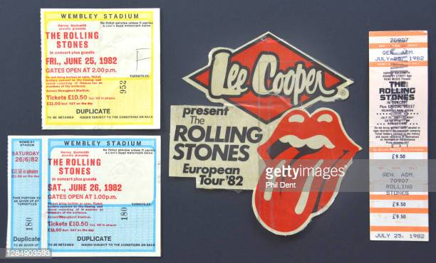 Music memorabilia concert tickets and logio sticker from the UK leg of the Rolling Stones' 1982 tour photographed on 20th October 2020