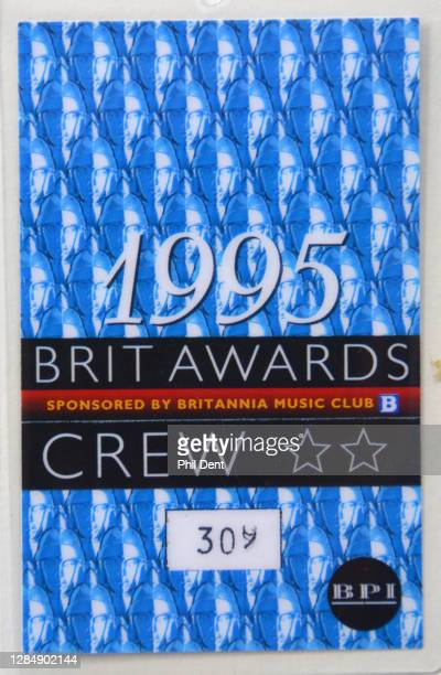 Music memorabilia - Crew pass for the 1995 Brit Awards, photographed on 19th October 2020.