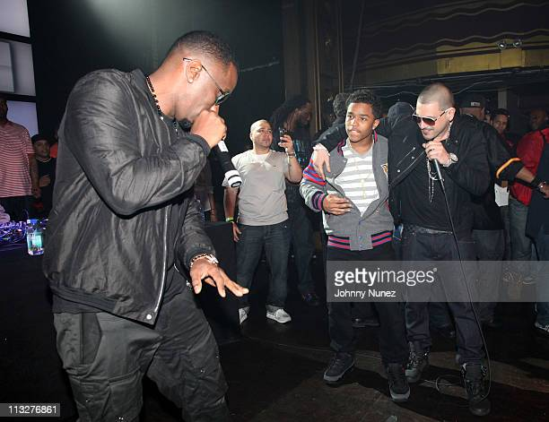 Music mogul and entrepreneur Sean Diddy Combs Justin Combs and DJ Prostyle celebrate DJ Prostyle's birthday at Webster Hall on April 28 2011 in New...