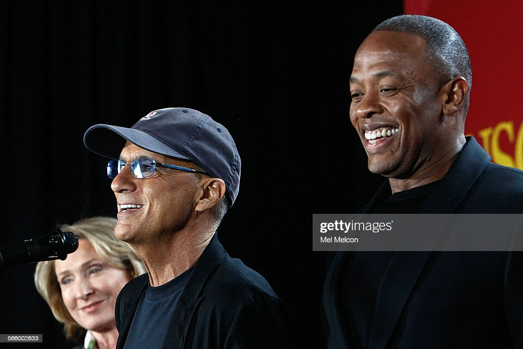 Music mogul Jimmy Iovine, left, and Rapper Dr. Dre, (given name Andre Young), are all smiles during : News Photo