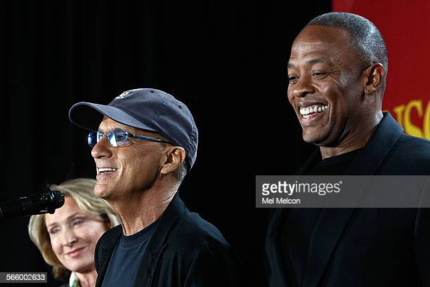 Music mogul Jimmy Iovine left and Rapper Dr Dre are all smiles during an announcement at Interscope Studios in Santa Monica on May 15 2013 that they...