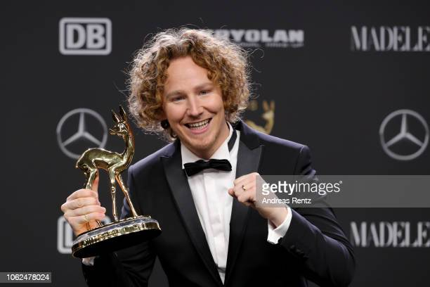 'Music National' award winner Michael Schulte poses with award during the 70th Bambi Awards winners board at Stage Theater on November 16 2018 in...