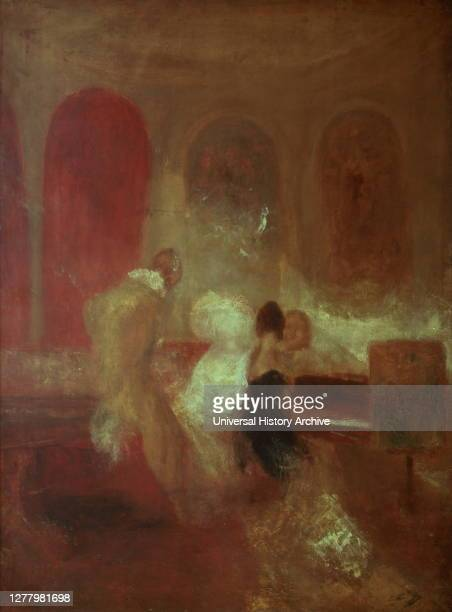 Music Party, East Cowes Castle', Isle of Wight, 1835 by JMW Turner. This unfinished study shows a group of figures playing or languidly listening to...