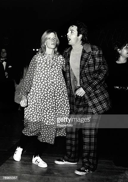Music Personalities 9th November 1971 Former Beatle Paul McCartney and his wife Linda dancing at a London party to launch his new group Wings