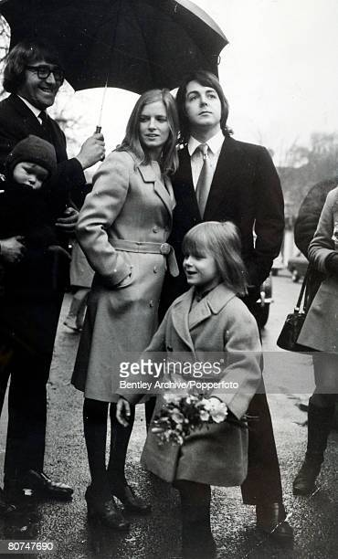 12th March 1969 Paul McCartney the last of the Beatles to get married with his bride to be Linda Eastman and her daughter Heather as they leave for...