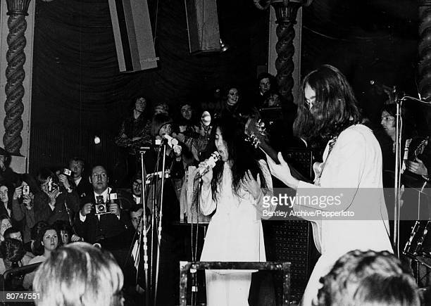 16th December 1969 John Lennon and Yoko Ono performing at a Lyceum Ballroom concert in London in aid of UNICEF
