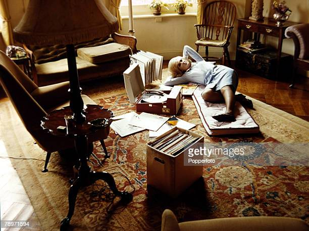 1965 British singer Dusty Springfield relaxing at home listening to music Dusty Springfield who first came to prominence with The Springfields but on...