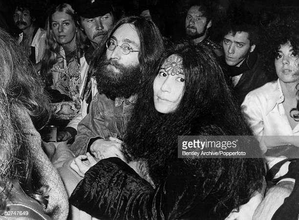 1st September 1969 John Lennon and his wife Yoko Ono at a Bob Dylan concert