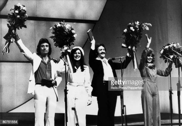 4th April 1976 The Hague The Eurovision Song Contest British pop group 'Brotherhood of Man' celebrate their victory with the song 'Save Your Kisses...