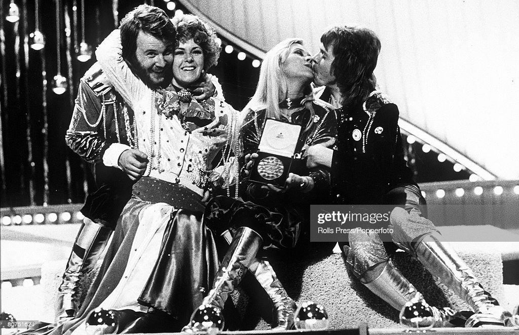 4th July 1974, Brighton, England, Swedish pop group 'Abba' celebrate their Eurovision Song Contest victory with 'Waterloo' the winning song