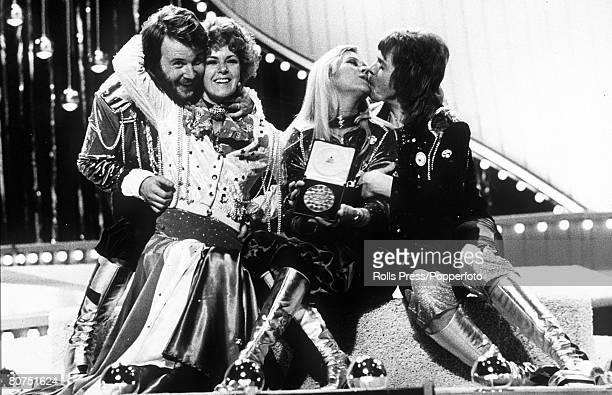 4th July 1974 Brighton England Swedish pop group 'Abba' celebrate their Eurovision Song Contest victory with 'Waterloo' the winning song
