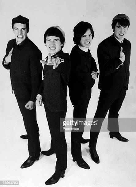 April 1964 Leftright Mick Amory Peter Quaife Dave Davies Ray Davies of The Kinks pop group pose for a publicity shot