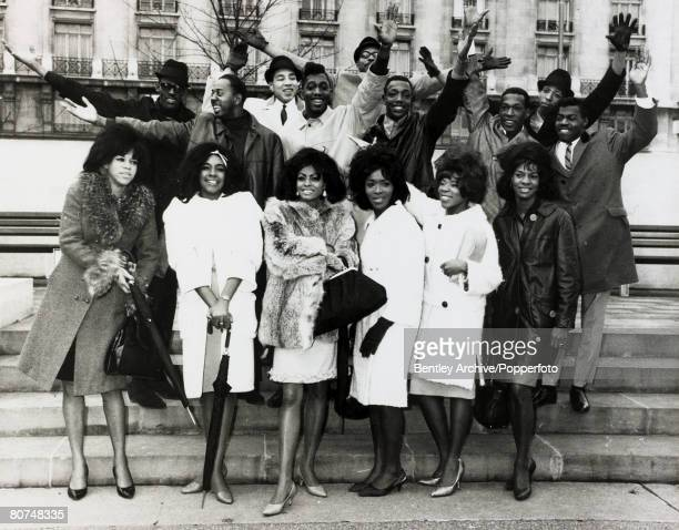 October 1964 London American pop groups The Supremes Martha and the Vandellas The Temptations and Smokey Robinson and The Miracles pictured on a...